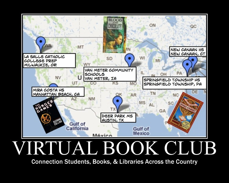 virtual book club map & books