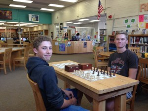 Vaughn & Shane with chess table