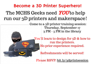 3D Printer Training Flyer