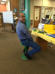 Mr. Brown on new stool